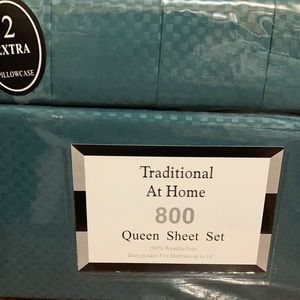 Traditional At Home 6 Queen Sheet Set Forest green